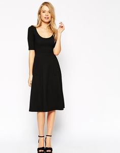 ASOS Midi Texture Skater Dress with Pockets and Half Sleeve