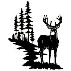 Buck Silhouette, Silhouette Clip Art, Animal Silhouette, Silhouette Design, Landscape Silhouette, Hunting Decal, Bow Hunting, Wood Burning Patterns, Wood Burning Art