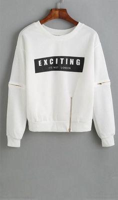 Letter Print Zipper White Sweatshirt