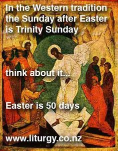 The Sunday after Easter is Trinity Sunday