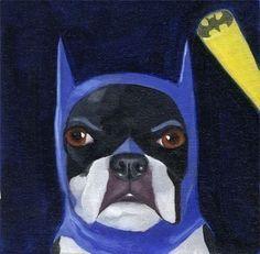 batman boston terrier art- love it!!!