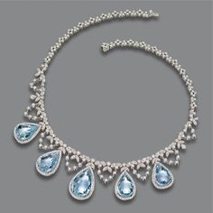 Aquamarine and diamond necklace | Lot | Sotheby's he necklace of delicate garland design set with numerous small round diamonds, supporting 5 pear-shaped aquamarines weighing approximately 35.50 carats, within borders of small round diamonds, the total diamond weight approximately 7.25 carat, mounted in 18 karat white gold, length 15½ inches