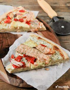 Pizza con salmón ahumado