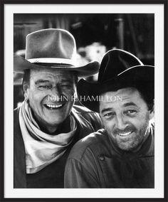 John Wayne & Robert Mitchum Framed Photograph - John R Hamilton Collection