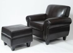 Roundhill Furniture Dinen Dark Bonded Leather Club Chair with Ottoman - http://www.furniturendecor.com/roundhill-furniture-dinen-dark-bonded-leather-club-chair-with-ottoman/