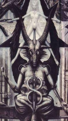 Baphomet, Tarot, Arte Horror, Horror Art, Dark Art Illustrations, Illustration Art, Lila Baby, Giger Art, Dark Souls Art