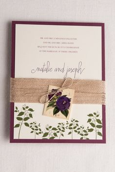 Vintage botanical wedding Invitation set, Purple Pansies, 5x7, floral, burlap, craft, digital
