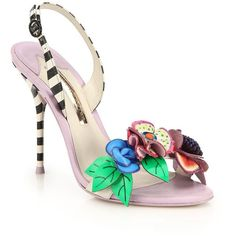 Sophia Webster Lilico Slingback Sandals (€205) ❤ liked on Polyvore featuring shoes, sandals, apparel & accessories, multicolor, open toe leather sandals, leather strap sandals, multi colored sandals, multi color sandals and strappy leather sandals