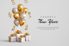 Happy new year 2021 with gift boxes, bal... | Premium Psd #Freepik #psd #banner #winter #new-year #gift Happy New Year Photo, Happy New Year Images, Happy New Year Cards, Happy New Year Wishes, Happy New Year Greetings, Christmas Vases, New Year Illustration, Happy Birthday Video, New Year Banner