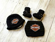 Crochet Baby Harley Motorcycle Helmet, Diaper Cover and Motorcycle Boots Set $50 Available from Newborn to 18 Months.
