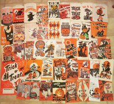 Some of our older Halloween trick or treat bags. I think most of these have individually been posted to my photostream Retro Halloween, Halloween Candy Bags, Vintage Halloween Images, Halloween Iii, Vintage Halloween Decorations, Halloween Items, Halloween Trick Or Treat, Holidays Halloween, Paper Halloween