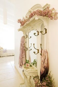 Great place for clients to hang their coats and clothes. #shabbychic
