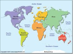 Oceans In The World Map.Map Of 7 Continents And 5 Oceans Digital Computer Graphics Map Of