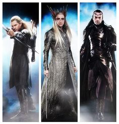 "Legolas, Thranduil and Elrond -- character stills from ""The Hobbit"""