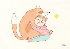 Babe in Arms // Fox & Girl // Watercolour by Joana Rosa Bragança on Etsy