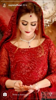Red beading on red fabric. Pakistani Bridal Makeup, Bridal Mehndi Dresses, Nikkah Dress, Pakistani Wedding Outfits, Bridal Lehenga, Indian Bridal, Pakistani Dresses, Bridal Looks, Bridal Style