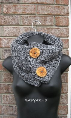 Cowl Neckwarmer Scarf in GRAY or ANY COLOR Handmade by babyarns, $54.00