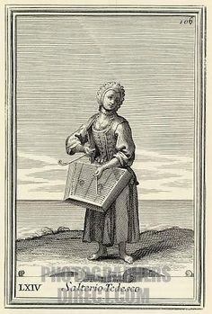 "Dulcimer musician Salterio Tedesco ( German psaltery ) from Bonannis Gabinetto Armonico published in 1723 Engraving by Arnold van Westerhout Illustration 106 stock photo ~ German beggar girl who played one in the streets of Rome. Salterio or ""hammered dulcimer"""