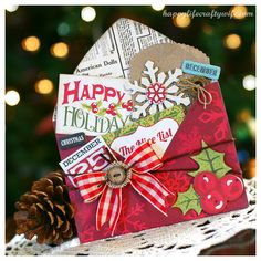 Wonderful card by Walker Walker Tripodi! Christmas Paper Crafts, Christmas Bags, Handmade Christmas, Christmas Ideas, Xmas Cards, Holiday Cards, Christmas Envelopes, Jolly Holiday, Scrapbooking