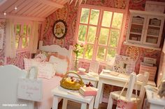 PINK ATTIC Diorama | Flickr - Photo Sharing!  Miniature shabby chic attic room.