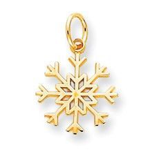 Solid Polished Snowflake Charm in 10k Yellow Gold
