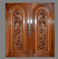 Pair of Antique French Hand Carved Solid Wood Cupboard Doors Wall Panels With Scrolls Acanthus Leaves & Ornate Escutcheon Wood Front Doors, Door Gate Design, Door Glass Design, Door Design Wood, House Gate Design, Wood Doors Interior, Front Door Design, Drawing Room Interior Design