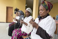 """Women's Economic Empowerment Project, Addis Ababa. Trainees at the project known as """"Connecting 1,500 Women and Girls to the Export Market"""", in Addis Ababa, on the day of Secretary-General Ban Ki-moon's visit. The project trains women and girls to develop skills in industries such as leather, weaving, basketry, embroidery, gemstones, and spinning. 15 July 2015. UN Photo/Eskinder Debebe. Photo #638211"""