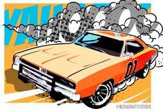 1969 Charger - Car art - Pop Art illustration print of the General Lee - size 13x19 via Etsy