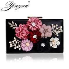 YINGMI Flower Crystal Evening Clutch Bag Flap Diamonds Applicant Chain  Shoulder Handbags Bag Female Beaded Party Wedding Purse Review d1be59ddf752