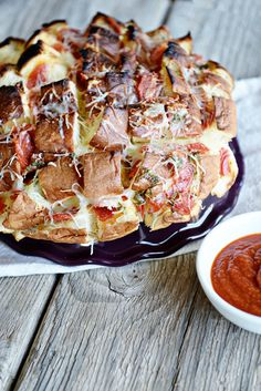 Pepperoni Pizza King's Hawaiian Bread is a great appetizer recipe to take to a New Year's Eve party or for watching your favorite football game.
