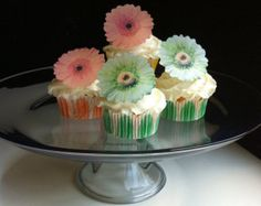 Items similar to The Original EDIBLE Gerbera Daisies - Peach and Light Green - Cake & Cupcake toppers - Food Decorations on Etsy Hibiscus Flowers, Edible Flowers, Sugar Flowers, Diy Flowers, Gerbera Daisies, Flower Diy, Green Cake, Wafer Paper, Edible Art