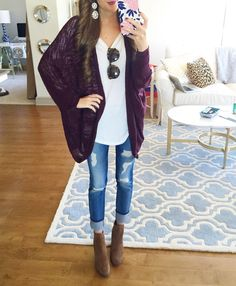 """""""Favorite cardigan. Ever. And it's less than $45! I've been wearing it over & over to run errands in! Also, this white long sleeve tee is my jam. …"""""""