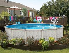 Above Ground Pool Ideas - In the summer, people like spending few hours in the swimming pool. However, you may hate the way your above ground pool looks in your backyard. Landscaping Around Patio, Above Ground Pool Landscaping, Swimming Pool Landscaping, Landscaping Ideas, Pool Pavers, Backyard Decks, Backyard Toys, Driveway Landscaping, Farmhouse Landscaping