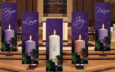 set of 4 advent banners hope joy love peace church partner. Black Bedroom Furniture Sets. Home Design Ideas