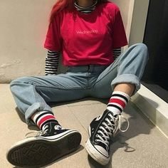 striped mock neck long sleeve tee + red tee shirt + mom jeans + socks + black converse