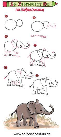 Cómo dibujar un bebé elefante Aprende a dibujar elefantes - Aprende a dibujar un lindo elefante bebé en solo unos pocos pasos. Art Drawings For Kids, Animal Drawings, Easy Drawings, Art For Kids, Mother And Baby Elephant, Cute Baby Elephant, Easy Elephant Drawing, Draw An Elephant, Kitten Drawing