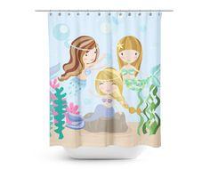 Under the Sea Mermaid Friends Shower Curtain - Kids Shower Curtain - Mermaid…