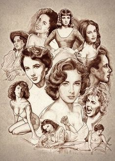 """Elizabeth Taylor in the book """"Women of Hollywood"""" by Nacho Castro Elizabeth Taylor, Steven Seagal, Celebrity Drawings, Celebrity Caricatures, Edward Wilding, Lauren Bacall, Cinema Tv, Montage Photo, Jackie Chan"""