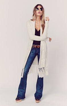 Model wear Open Sweater with Fringe 2015 Lookbook