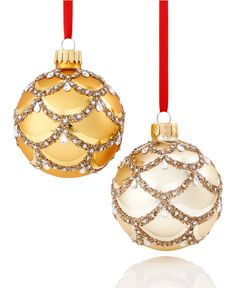Holiday Lane Set of 2 Gold with Glitter Scallop Pattern Ornaments, Only at Macy's - Christmas Ornaments - For The Home - Macy's