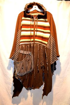 Recycled sweater tunic poncho wrap top One big pocket