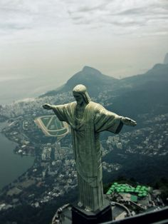 Christ the Redeemer, is a statue of Jesus Christ in Rio de Janeiro, Brazil. The statue's features are  30 metres (98 feet tall), weight 700 tons. It is located at the peak of the 700 m (2,296 ft) Corcovado mountain in the Tijuca Forest National Park overlooking the city. The tallest of its kind in the world.