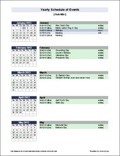 Create a yearly Calendar of Events with holidays, birthdays, anniversaries, and whatever