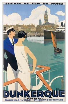 Dunkerque Dunkirk France French Vintage Travel Advertisement Art Poster Print - Advertising Poster - Ideas of Advertising Poster Art Deco Posters, Vintage Travel Posters, Poster Prints, Art Prints, Old Poster, Retro Poster, Australian Vintage, Tourism Poster, Kunst Poster