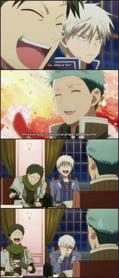 Obi, Zen & Mitsuhide, a bit too much - Akagami no Shirayuki-hime ~ DarksideAnime Anime Bad, All Anime, Anime Love, Manga Anime, Anime Sleep, Zen Wisteria, Anime Snow, Sanji One Piece, Hotarubi No Mori