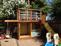 Summertime Project – Build a Playhouse for Your Kids Modern Playhouse, Outside Playhouse, Build A Playhouse, Playhouse Outdoor, Outdoor Play, Boys Playhouse, Playhouse Ideas, Kids Yard, Play Yard