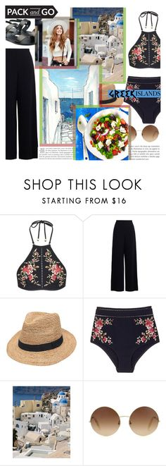 """""""Pack And Go : Greek Islands"""" by lifeisworthlivingagain ❤ liked on Polyvore featuring Zimmermann, Gottex, Victoria Beckham, Ancient Greek Sandals, Packandgo and greekislands"""