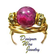 DWJ0570 Stunning Ruby Crazy Lace Agate Gemstone Gold Wire Wrap Ring All Sizes
