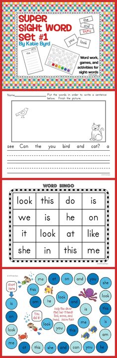 Sight Word Super Set #1 - A huge set of fun games and activities to build sight word fluency. Rainbow writing, word dabbing, sentence building, bingo games, board games, word graphs, and so much more. Perfect for a kindergarten sight word program. Aligned to the red Short Books set. Happy teaching! $