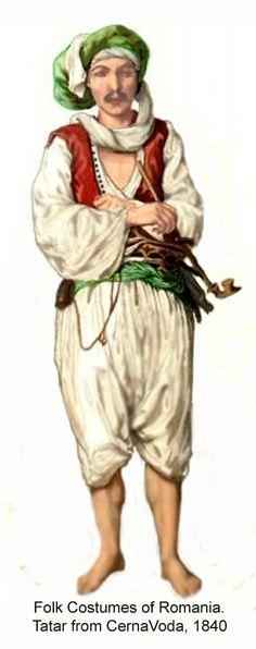 A Crimean Tatar from Cernavoda (southeastern Romania), in daily costume, 1840.